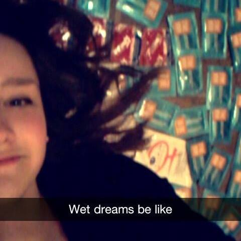 "Mikayla lying on lube and condoms. Caption: ""Wet dreams be like""."