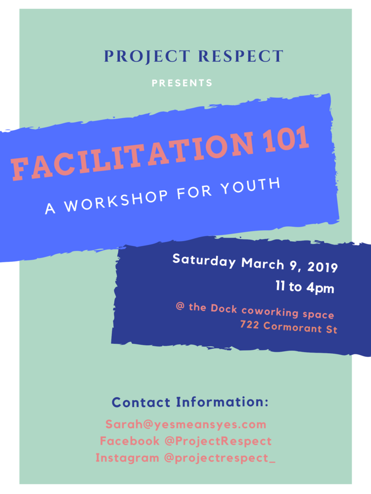 Poster for Facilitation 101, with blue and purple band of content, March 9 2019.