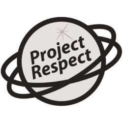 The black and white Project Respect draft logo.