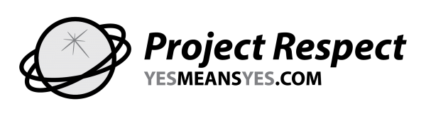Project Respect logo, black and white, yesmeansyes.com.